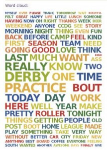 This is a wordcloud representing my Facebook posts. Notice the largest words.